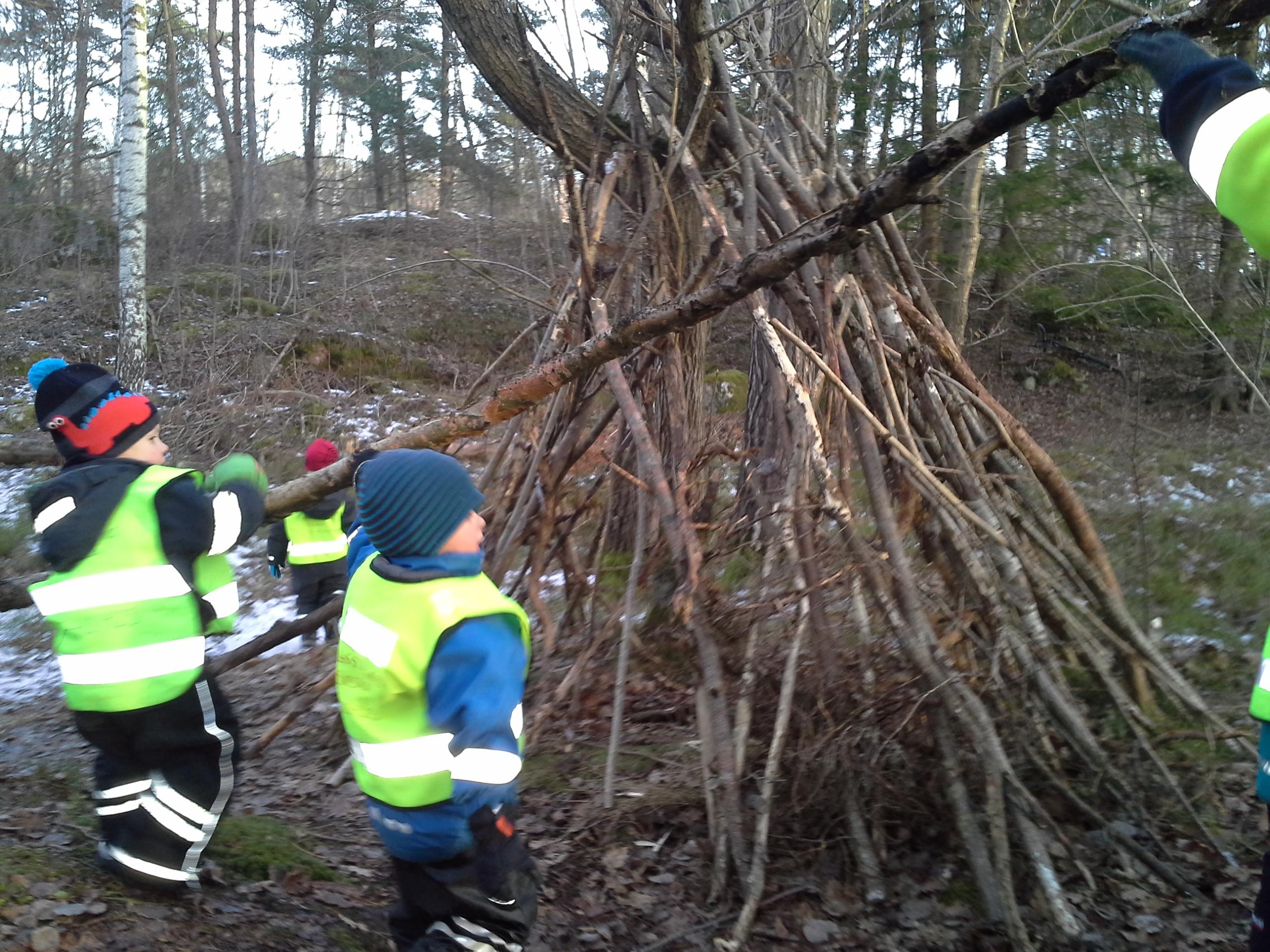 I december var vi i skogen och började på en koja. Vi började på den eftersom barnen var så sugna på lååååånga pinnar och vad gör man bäst med såna, om inte koja!