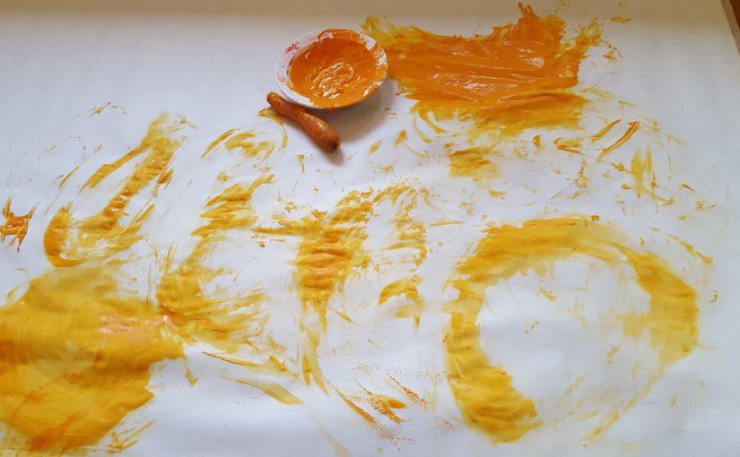 Vi målar med morot och kroppen.